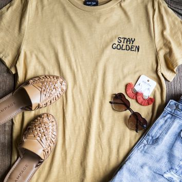 Stay Golden Embroidered Tee, Gold