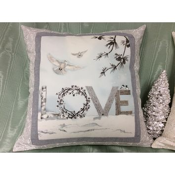 Christmas Accent Pillow with Swarovski Crystals - Love