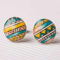 Tribal Print Post Earrings in Salmon, Yellow, and Teal