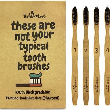 Set/4 100% Organic Bamboo Charcoal Infused Toothbrushes