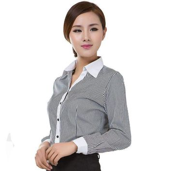 2018 Office Lady Formal Blouses Stripe Long Sleeve Turn-down Collar Cotton Occupational Shirts OL Style Women Tops Ropa Mujer