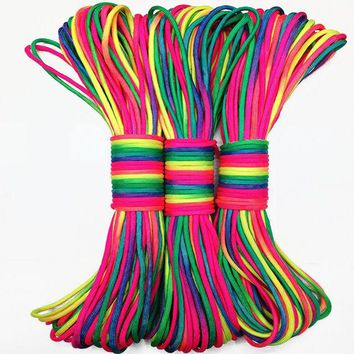 DCCK7N3 Colorful 100 FT Paracord 550 Paracord Parachute Cord Lanyard Rope Mil Spec Type III 7 Strand edc