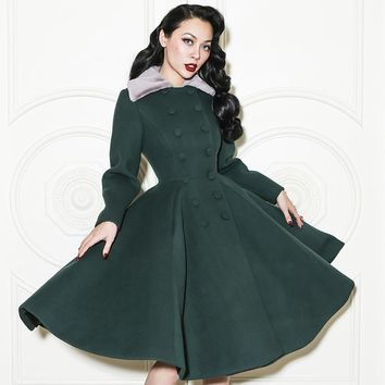 Le Palais Vintage 2017 New Arrival Elegant High Quality Women's Coats Double Breasted Slim Large Swing Skirt Wool Coat Women