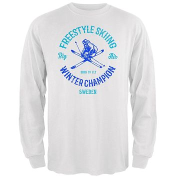 Winter Games Freestyle Skiing Champion Sweden Mens Long Sleeve T Shirt