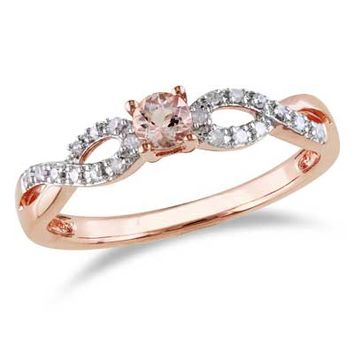 3.5mm Morganite and Diamond Accent Twine Promise Ring in Rose Rhodium Plated Sterling Silver - View All Rings - Zales
