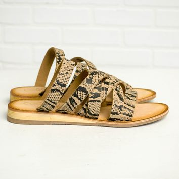 Ladylike Taupe Snake Slip On Sandals