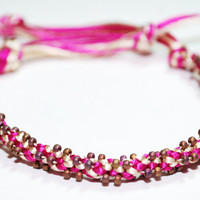 Beaded Kumihimo Bracelet Pink Frosted Copper Pink Beaded Jewelry