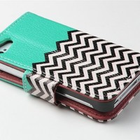 KINGCO Deluxe Chevron Wave Pattern Design PU Leather Wallet Magnet Flip Stand Case Cover with Credit Card Holder for Apple iPhone 4 4S Hard Cases Covers