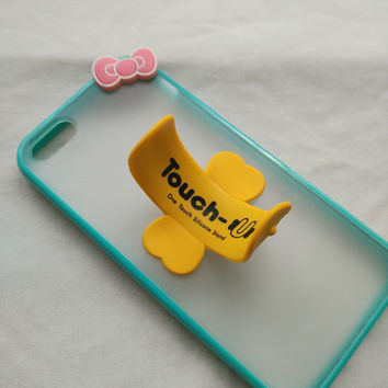 bowknot phone case with Brian circle  stand for iPhone 5 5s colorful silicone frame hard back