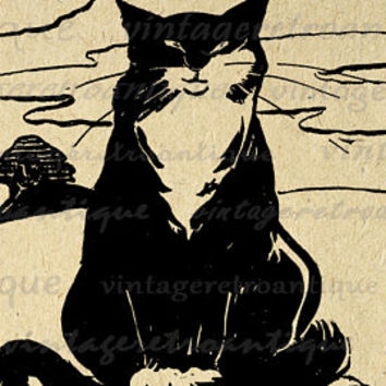 Printable Image Cat Graphic Kitten Digital Illustration Download Antique Clip Art Jpg Png Eps  HQ 300dpi No.1795