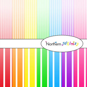 Digital Scrapbooking Paper Background Set – bright rainbow ombre package in large and small   vertical stripe patterns INSTANT DOWNLOAD