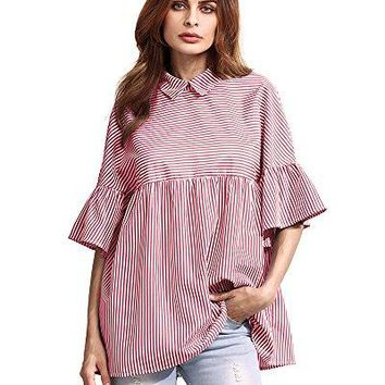 HAPEE Sexy Women Ruffle Half Sleeve Striped Shirts Collared Blouse Oversized Tops