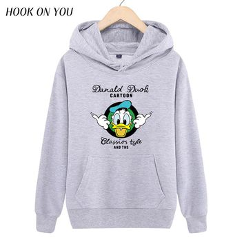 2017 Newest Donald Duck Men Sweatshirt Cartoon Anime Printed Pullover Hoodies Man Cool Outerwear Funny Chic Tops Casual Clothing