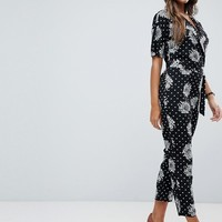 ASOS Wrap Jumpsuit with Self Belt in Mono Spot Floral Print | ASOS