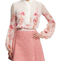 Giambattista Valli Long-Sleeve Floral-Print Blouse, White/Multi