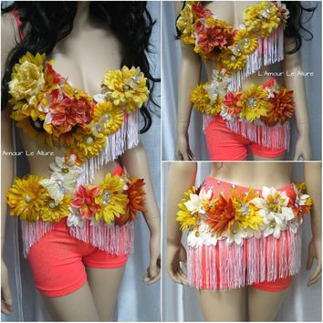 Tropical Orange Fringe Fairy Monokini Dance Costume Rave Bra Halloween Burlesque Show Girl