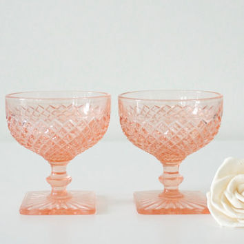 Pink sherbet glasses Depression glass by Anchor by SCAVENGENIUS