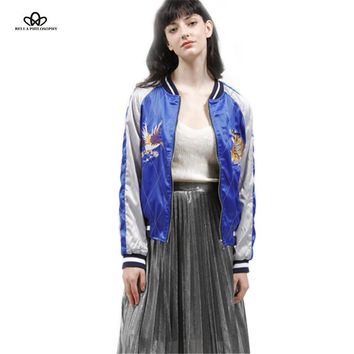 Bella Philosophy 2016 spring two sides wear reversible stain sateen embroidery souvenir bomber jacket no padded real photo