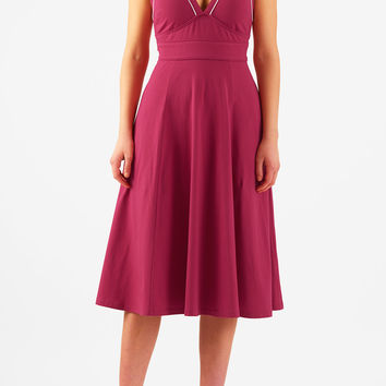 Contrast piped trim cotton knit dress