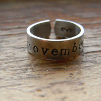 MOVEMBER moustache aluminum cuff style ring 1/4 inch