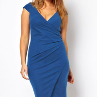 Plus Size Blue V-Neck Ruched Wrap Midi Dress