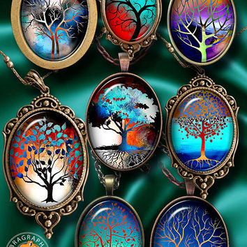 Tree of Life - Digital Collage Sheet - 30x40mm, 22x30mm ovals - Instant Digital Download for Pendants, Cabochons, Cameos, Crafts CG-964O
