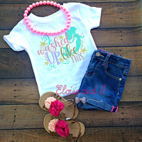 mermaid baby outfit, mermaid toddler shirt, newborn outfit, mermaid baby shower gift, baby girl coming home outfit, i washed up like this