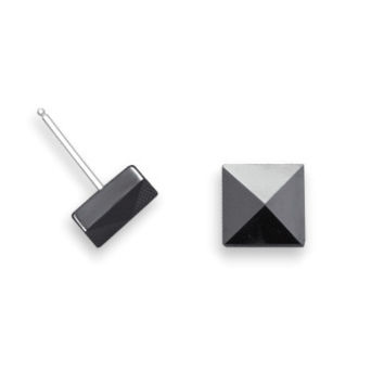 Stainless Steel Black Ceramic Pyramid Stud Earrings