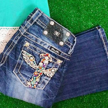 MISS ME COLORFUL CROSS BOOTCUT JEANS