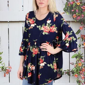 Kissed in Florals Babydoll Tunic {Navy}