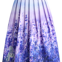 Endless Lavender Romance Pleated Midi Skirt  Multi