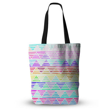 "Sreetama Ray ""Stripes Cushion"" Rainbow Chevron Everything Tote Bag"