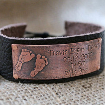 New Baby Bracelet Name, Date of Birth, Weight - Copper Etched Leather Cuff Bracelet