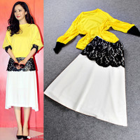 Yellow Dolman Sleeves Spliced  Lace Embroidered Maxi Skirt