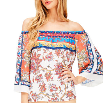 Brocade Off Shoulder Top