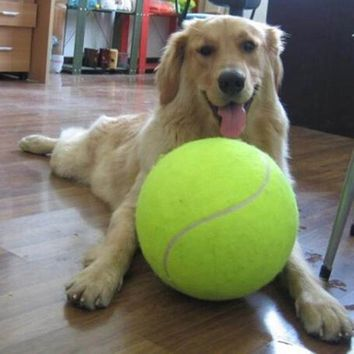 HATELI 24CM Giant Tennis Ball For Pet Chew Toy Big Inflatable Ball Signature Mega Jumbo Pet Toy Ball Supplies Outdoor Cricket