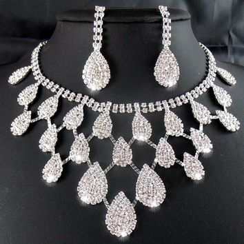 Rhinestone Crystal Necklaces+Earring Hair Stick Bride Jewelry Sets