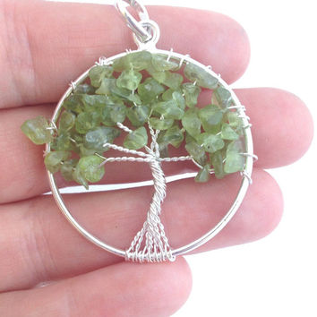 Tree of Life Peridot Gemstone Pendant / Silver Tone WireWrapped Jewelry Making Supply / Crystal Healing Gift Idea Crafting Necklace Piece
