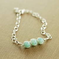 Aquamarine Blue March Birthday Bracelet, Amazonite Sterling Silver Bracelet, Beaded Birthstone Jewelry