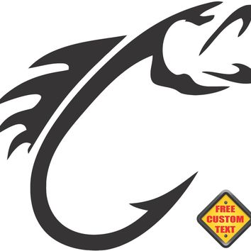 Fish Hook Sticker Decal 20 Colors To Choose From.