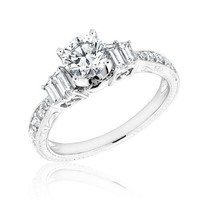 Round and Baguette Diamond Engraved Engagement Ring 1 1/5ctw