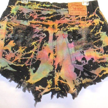 Levis High Waist  Tie Dye Denim Shorts with by Turnupthevolume