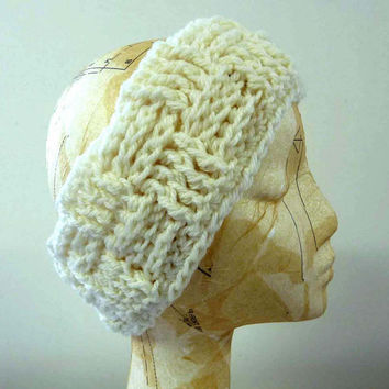 Cream Crochet Earwarmer  Winter Headwarmer Snow Bunny