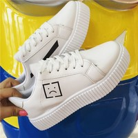 Faux-Leather Platform Sneakers