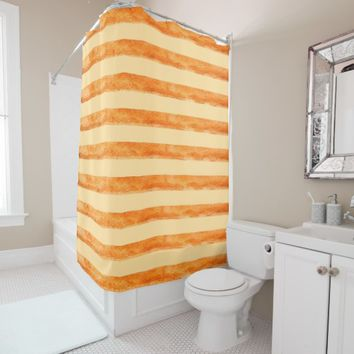 Peach and rustic copper colored stripes shower curtain