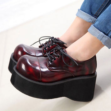 Women Booties Imitations Demonia Ankle Motorcycle Boots Goth Punk Style Creeper Shoes Womens Platform Wedge Boots Black Boots