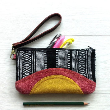Handmade pencil case, Unique makeup purse bag, Cosmetic bag, Stylish accessory bag, Iphone 6 wallet wristlet, Southwestern Coin Purse