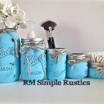 Mason jar bathroom set, painted blue mason jars, bathroom accessories, bathroom decor, bathroom organizer, rustic home decor, housewares
