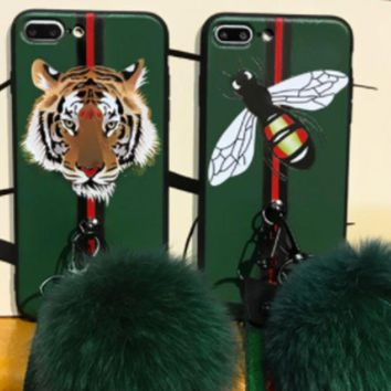 VONEYW7 gucci tiger fox ball iphone7olus mobile phone shell x european and american female iphone8p soft silicone case 6s full package hang rope