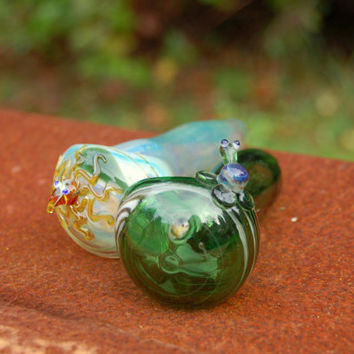 Buddy pipes, emerald green turtle and color changing octopus, hand blown glass pipes, FREE SHIPPING